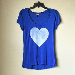 Express Royal Blue Heart Top